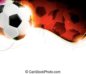 Soccer ball on wavy red background - Burning soccer ball on ...