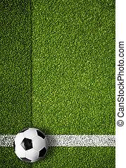 soccer ball on white marking line, edge of football field