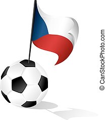 Soccer Ball or Foot Ball with Flag of the Czech Republic