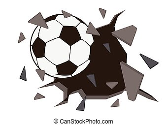 Soccer ball or football and old concrete wall damage.