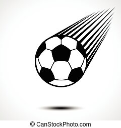 Soccer ball or football speeding through the air