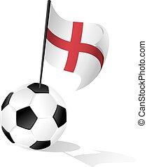Soccer Ball or FootBall with Flag of England