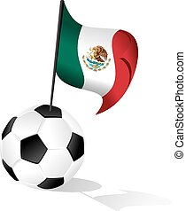 Soccer Ball or FootBall with Flag of Mexico