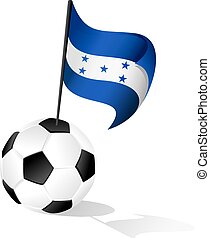 Soccer Ball or FootBall with Flag of Hondura