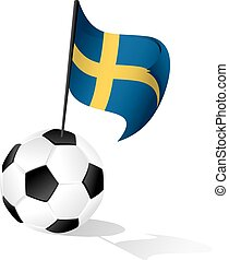 Soccer Ball or FootBall with Flag of Sweden