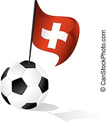 Soccer Ball or FootBall with Flag of Switzerland