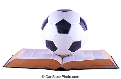Soccer ball over book, isolated over white background