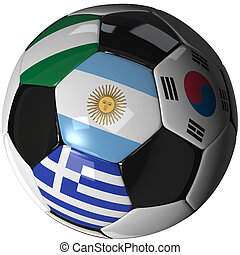 Soccer ball over white with 4 flags - Group B 2010