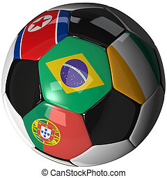 Soccer ball over white with 4 flags - Group G 2010