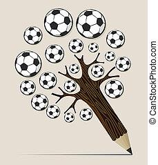 Soccer ball pencil tree concept