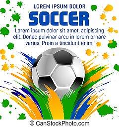 Soccer Poster Vector Design For Sport Bar Promotion Football Ball