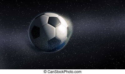 Soccer ball revealing from approaching planet Earth - Soccer...