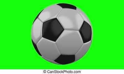 Soccer ball rotates on green hromakey background - Soccer...