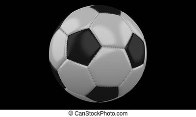 Soccer ball rotates on transparent background, 4k footage with alpha