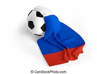 soccer ball Russia flag 3d rendering