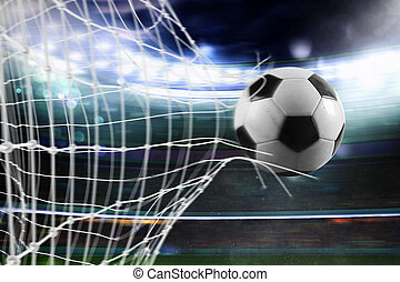Soccer ball scores a goal on the net - Ball scores a goal on...