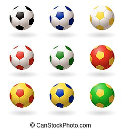 soccer ball. set of balls different colors for playing football. objects on white background. Vector illustrations