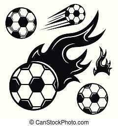 Soccer ball set of vector various black objects