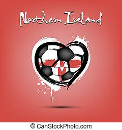 Soccer ball shaped as a heart in color of Northern Ireland flag