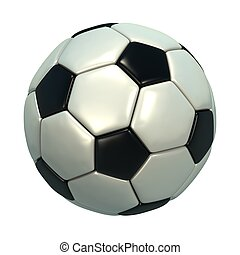 Shinny black and white soccer ball.