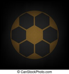 Soccer ball sign. Icon as grid of small orange light bulb in darkness. Illustration.
