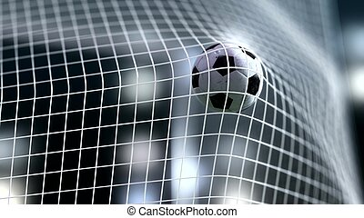 soccer ball slow motion to the goal. Football 3d rendering -...
