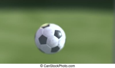 soccer ball slow motion to the goal. Football ball...