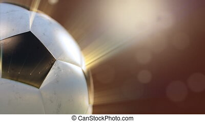 soccer ball slowly flying through the water drops emitting rays of light, 3d animation