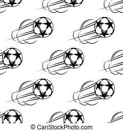 Soccer ball speeding through the air
