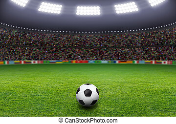 Soccer ball, stadium, light - Soccer ball on green stadium, ...