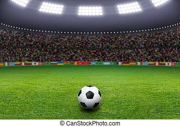 Soccer ball, stadium, light - Soccer ball on green stadium,...