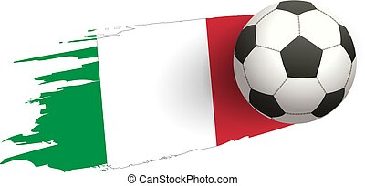 Soccer ball strike flight against the background of the italy flag