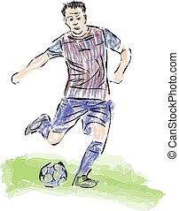 Soccer ball striker painted in the style of skech.Vector
