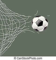Soccer ball through net, vector