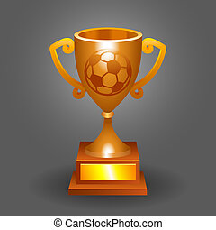 Soccer ball trophy bronze cup bacground