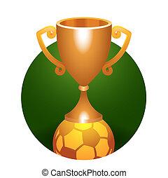 Soccer ball trophy bronze cup