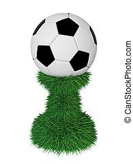 Soccer ball trophy on green grass pedestal