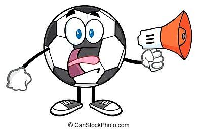 Soccer Ball Using A Megaphone