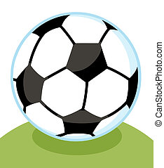 Soccer Ball With A Blue Outline On A Grassy Hill