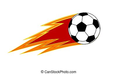 soccer ball with a trail of fire