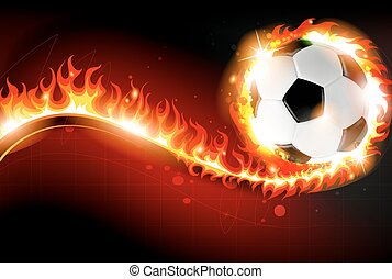 Soccer ball with abstract fire