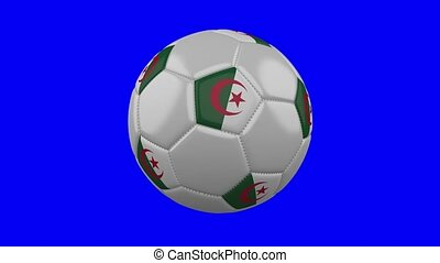 Soccer ball with Algeria flag on blue chroma key background, loop