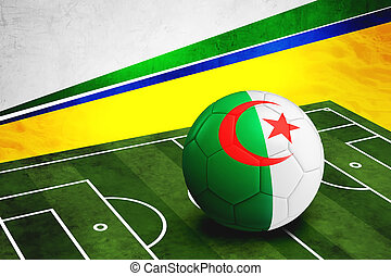 Soccer ball with Algeria flag on pitch