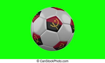 Soccer ball with Angola flag on green chroma key background, loop