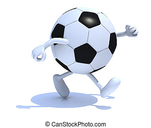 soccer ball with arms and legs run away, 3d illustration