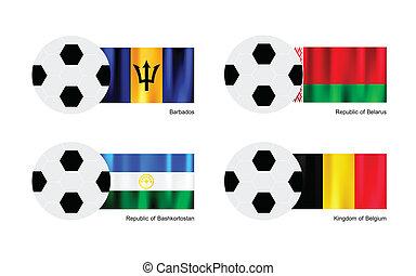 Soccer Ball with Barbados, Belarus, Bashkortostan and Belgium Flag