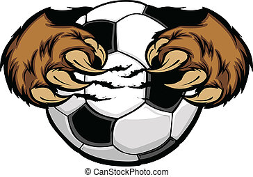 Soccer Ball With Bear Claws Vector - Vector Cartoon of Bear...