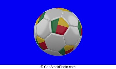 Soccer ball with Benin flag on blue chroma key background, loop