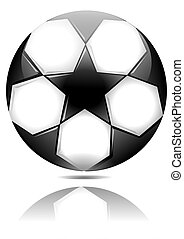 Soccer ball with black stars with reflection in the mirror