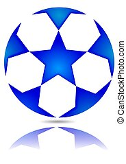 Soccer ball with blue stars with reflection in the mirror